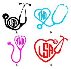 Stethoscope Nurse Doctor Personalized Monogram ONE Color Vinyl Decal on Etsy, $2.00
