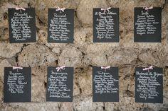 Plan de table. Ardoise, ruban, grillage à poule. Noms de villages de Drôme provençal. Domaine de Sarson à Grignan. Studio cabrelli.