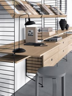 Spring/Summer 2018 Series: String Furniture's Iconic and Versatile Design Displayed in a Contemporary Style This week's special series continues with the Swedish maker of modular shelving system. Furniture Design, Home, Furniture, Danish Furniture, Interior, Oak Desk, Shelving, House Interior, Home Deco