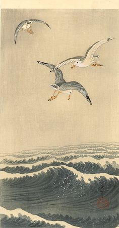 Seagulls over the Waves Artist: Ohara Koson ::: Completion Date: ::: Place of Creation: Japan ::: Style: Shin-hanga ::: Genre: wildlife painting ::: Technique: woodblock print ::: Material: paper ::: Dimensions: 37 x 19 cm ::: Gallery: Muller Collection Ohara Koson, Japanese Woodcut, Art Chinois, Art Japonais, Wildlife Paintings, Japanese Painting, Chinese Painting, Japanese Prints, Japan Art