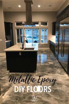 Epoxy Floor Diy, Epoxy Concrete Floor, Epoxy Floor Basement, Metallic Epoxy Floor, Stained Concrete, Diy Flooring, Kitchen Flooring, Outdoor Flooring, Epoxy Countertop