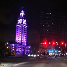 Just one of the many colored light themes on the Freedom Tower downtown Miami on Biscayne Blvd.