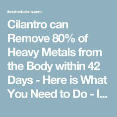 Cilantro can Remove 80% of Heavy Metals from the Body within 42 Days - Here is What You Need to Do - I Love Herbalism