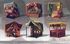 Flotilla City: Market Stalls by fang on DeviantArt Environment Concept Art, Environment Design, Prop Design, Game Design, Casa Viking, Medieval Market, Medieval Town, Game Props, Building Concept