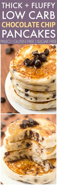 Healthy Thick and Fluffy Low Carb Pancakes with chocolate chips- Packed with protein but with NO protein powder- Low calorie too! Paleo Recipes, Low Carb Recipes, Dessert Recipes, Cooking Recipes, Desserts, Low Carb Pancakes, Low Carb Breakfast, Skinny Pancakes, Fluffy Pancakes