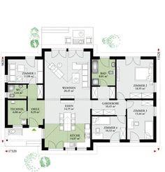 Hauspläne bungalow  Flach 146 Der 146 m2 Malli Bungalow mit Flachdach | Hauspläne ...