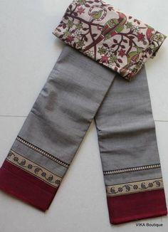 Handloom cotton saree with kalamkari blouse piece!