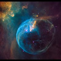 For the 26th birthday of NASA's Hubble Space Telescope, astronomers highlighted a Hubble image of an enormous bubble being blown into space by a super-hot, massive star. The Hubble image of the Bubble Nebula, or NGC 7635, was chosen to mark the 26th anniversary of the launch of Hubble into Earth orbit by the STS-31 space shuttle crew on April 24, 1990. http://hubblesite.org/newscenter/archive/releases/2016/13/