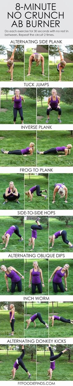 8 Minute No-Crunch Ab Workout. #workout #exercises #abs #core