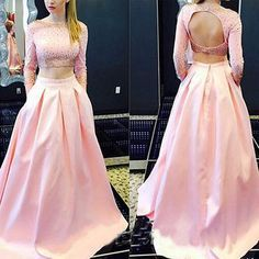 Pink Prom Dress,Long Sleeves Prom Dress,Two Pieces Prom Dress,2 Pieces Prom Dress,Pink Evening Dress, Long Evening Dress, Cheap Evening Dress, Long Prom Dress,Formal Dress, Homecoming Dresses, Graduation Dress, Party Dress