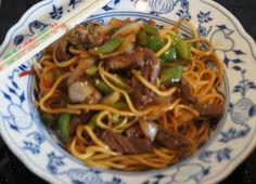 Rezept: Chinesische Nudeln im Wok mit Rindfleisch. Paprika und Zwiebeln Bild Nr. 236