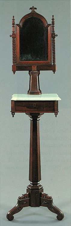 Victorian – Gothic Revival Shaving Stand. 1840-90 Major Woods - Black walnut, mahogany & rosewood.