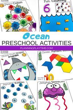 Ocean themed Math & Literacy activities for kids. -Ocean Worksheets Preschool