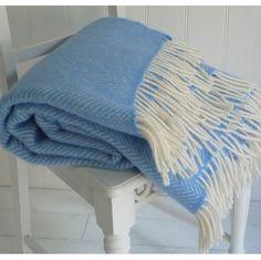 Sea Blue Herringbone Wool Throw