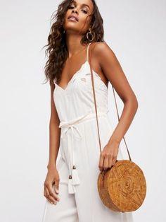 straw circle bag mono