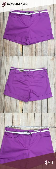 Express belted sateen shorts in pink or lavender Express belted stretch sateen shorts in pink or lavender. These shorts are pinkish but also purplish. In my personal opinion, they're more pink. Sateen finish, skinny belt to finish off the look. Dress them up or down, the choice is yours!  NWT, no flaws.   ***Approximate measurements provided in photos***  Tags: purple, soft, summer, vacation, dressy, weekend, bright Express Shorts