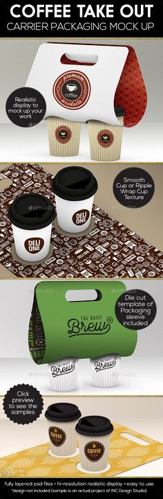 Coffee Take out Carrier Packaging Mock Up