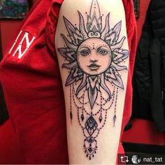 Beautiful Sun Tattoo On Arm