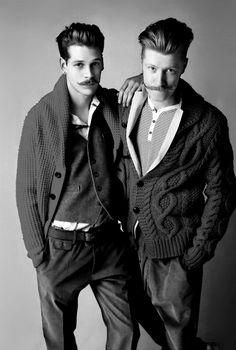 """for-redheads: """" Francois Verkerk & Hugo Villard by Babette Pauthier for WAD magazine 'The Man Issue' """" Moustaches, Looks Style, Men's Style, Guy Style, Style Men, Undercut Hairstyles, Male Hairstyles, Beard No Mustache, Handlebar Mustache"""