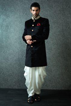 black bandhgala, velvet kurta, gold collar, gold buttons, white pathani