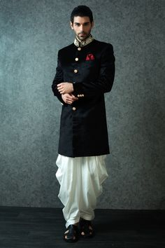 black bandhgala, velvet kurta, gold collar, gold buttons, white pathani