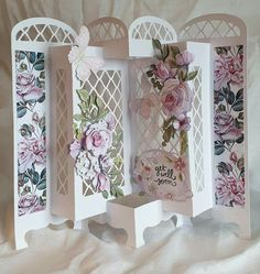 Easel Cards, 3d Cards, Pop Up Cards, Fancy Fold Cards, Folded Cards, Card Making Inspiration, Making Ideas, Screen Cards, Tattered Lace Cards