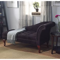 Black Storage Victorian Chaise Couch Lounge Chair Office Living Room Furniture | eBay