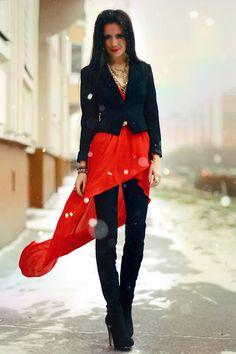 Red & black, layered.