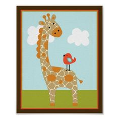 Wildlife Animals Giraffe with bird Art Poster  Click on photo to purchase. Check out all current coupon offers and save! http://www.zazzle.com/coupons?rf=238785193994622463&tc=pin