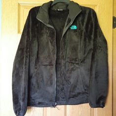 Black and Teal North Face Coat Soft, fuzzy and very warm coat. North Face Jackets & Coats
