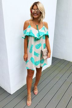 Share to save 10% on your order instantly! Summer Days Dress: Turquoise/Beige