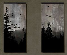 Mountain View Set of 2 paintings on reclaimed barn wood Etsy art diy art easy art ideas art painted art projects Pallet Painting, Pallet Art, Painting On Wood, Painting & Drawing, Painting On Windows, Wood Paintings, Pallet Beds, Wood Art Design, Design Design