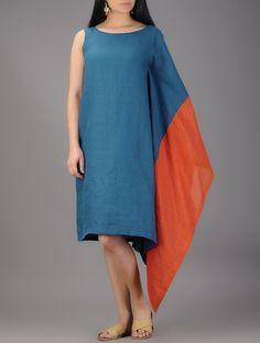 Buy Teal-Orange Linen and Net Half Kaftan Online at Jaypore.com