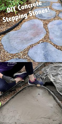 A video tutorial for how to make your own stepping stones, using concrete. Make them look like natural fieldstones. Add beauty to your yard by building a garden or walkway path with concrete stepping stones. A step by step written tutorial as well.