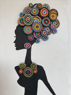 African headwrap card, african woman in front knot headwrap card, African print greeting cards, ankara headwrap card, birthday card Quilling Patterns, Quilling Designs, Button Art, Button Crafts, Quilling Work, Diy And Crafts, Arts And Crafts, Quilled Paper Art, Acrylic Pouring Art