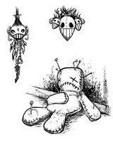 Voodoo Illos by ursulav on DeviantArt Voodoo Doll Tattoo, Voodoo Dolls, Finger Tattoo Designs, Symbol Tattoos, Easy Drawings Sketches, Art Drawings, Vodoo Tattoo, Creepy Pumpkin, Skull Girl Tattoo