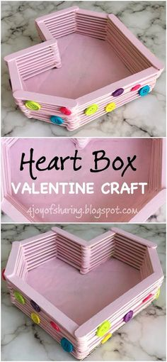 Simple and Easy Wood Stick Heart Box Craft. It makes for a cute Valentine Craft for Kids.
