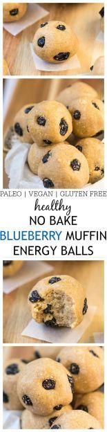 Healthy No Bake Blueberry Muffin Energy Balls- Perfect snack recipe or breakfast! Vegan + GF + Paleo option! @thebigmansworld - thebigmansworld.com