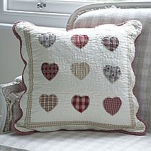 Patchwork 9 Hearts Reds Cushion Cover-50cm Sq