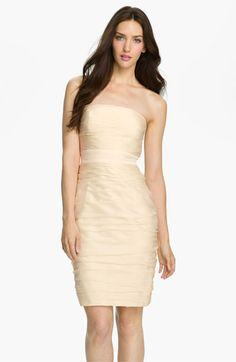 ML Monique Lhuillier Bridesmaids Strapless Ruched Cationic Chiffon Dress (Nordstrom Exclusive) available at - dress rehearsal ? Neutral Bridesmaid Dresses, White Wedding Dresses, Wedding Party Dresses, Wedding Suits, Wedding Attire, Bridesmaid Color, Monique Lhuillier Bridesmaids, Top Mode, Rehearsal Dress