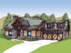Plan Strong Stone Columns and Wood Beams Architectural Design House Plans, Architecture Design, Montana Homes, Southwestern Home, Stone Columns, Southern House Plans, Good House, Tiny House, Craftsman Style House Plans
