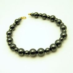 Vintage Gray Hematite Beads Bracelet 14K Gold Clasp Lovely Striking #RTI #Beaded