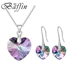 Daily Sale $8.48, Buy 2017 BAFFIN Original Crystals From SWAROVSKI XILION Heart Pendant Necklaces Drop Earrings Jewelry Sets For Women Lovers Gift