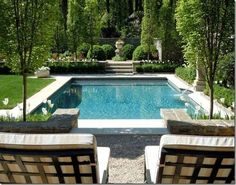 We met with a landscaper recently who worked up some plans for our large backyard. I have fallen in love with these backyard landscaping plans and can't wait to enact our long-term plan for a pool. I've included pool and landscaping inspiration photos! Outdoor Pool, Outdoor Spaces, Outdoor Gardens, Outdoor Living, Modern Gardens, Small Gardens, Landscape Plans, Landscape Design, Garden Design