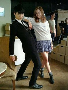 Kang Candy (Seo In Guk) and Taeyang Candy (Gong Hyo Jin) cutely posing on the set of The Master's Sun.