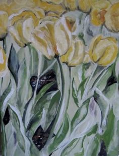 Painting Lessons, Painting Techniques, Tulip Painting, Paint Flowers, Learn To Paint, Diy Wall Art, Acrylic Paintings, Flower Art, Tulips