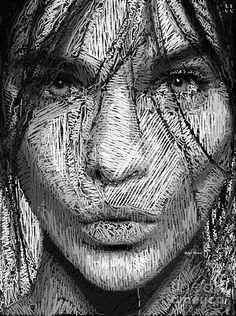 Studio Portrait In Pencil 36 Digital Art by Rafael Salazar