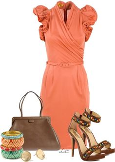 """""""#2538"""" by christa72 on Polyvore.  I love this dress and this color!! Love the shoes too!!"""