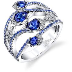 Parade in Colour Sapphire and White Diamond Blossom and Vine Ring by... ($4,945) ❤ liked on Polyvore featuring jewelry, rings, flower jewellery, ombre jewelry, vine jewelry, 18k jewelry and blossom jewelry