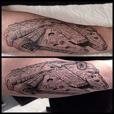 Now THAT is how you do a Millennium Falcon Tattoo. Star Wars. A New Hope. I have a good feeling about this....